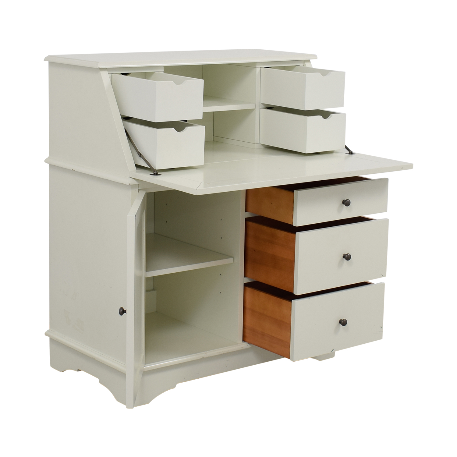 Pottery Barn Antique White Graham Secretary Desk Eggwhite