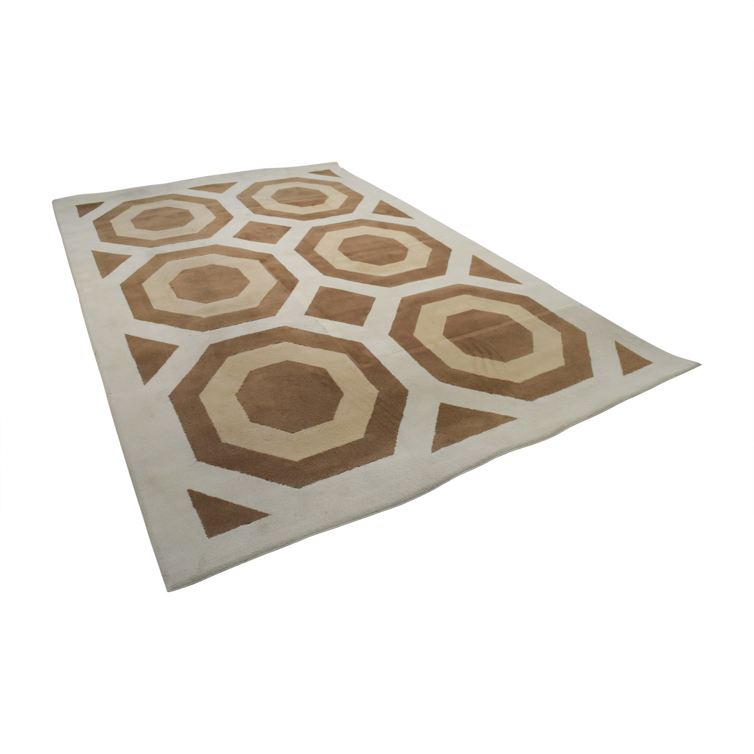 Ethan Allen Ethan Allen Brown Beige and White Rug Rugs