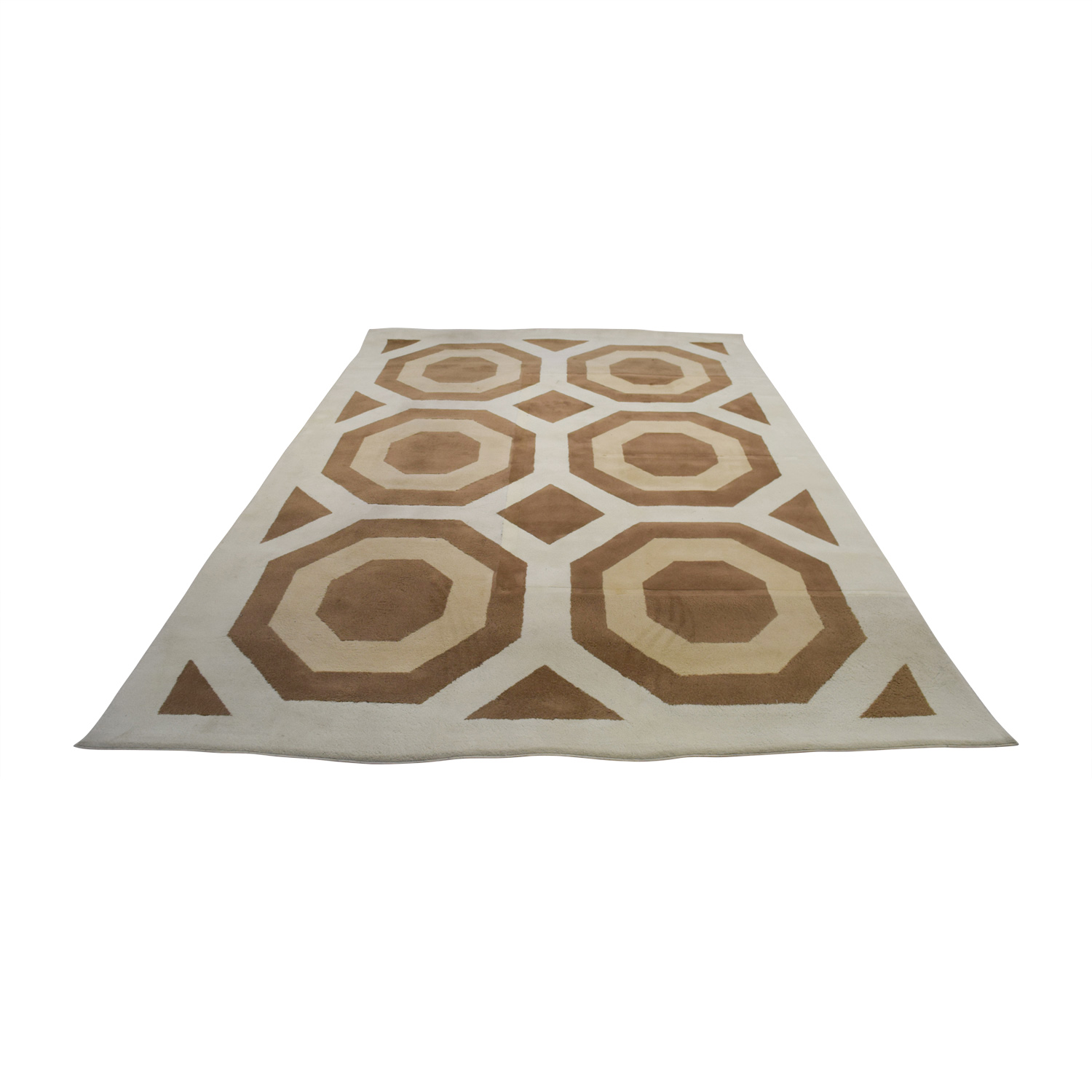 Ethan Allen Brown Beige and White Rug / Rugs