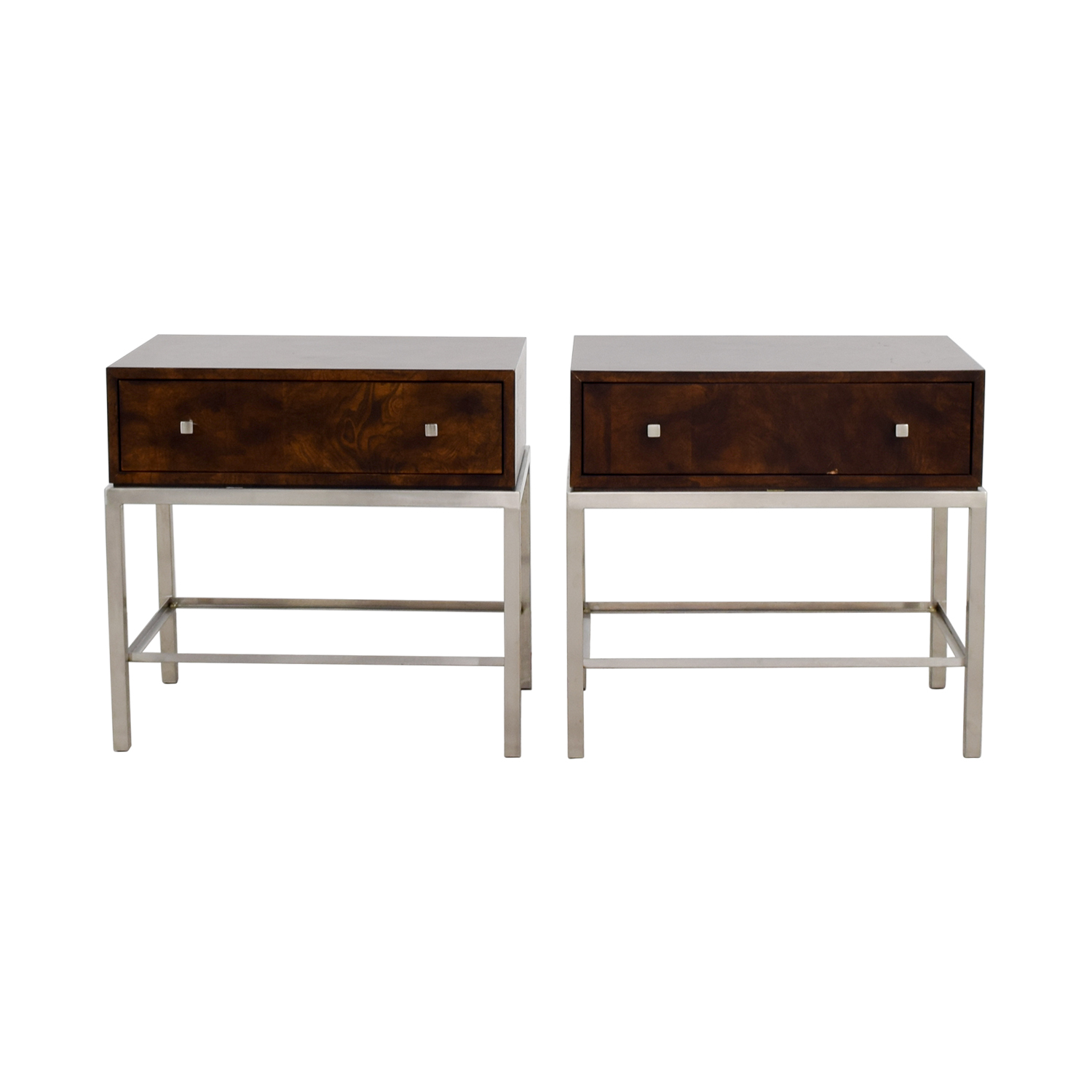 Ethan Allen Ethan Allen Wood & Metal Nightstand Tables