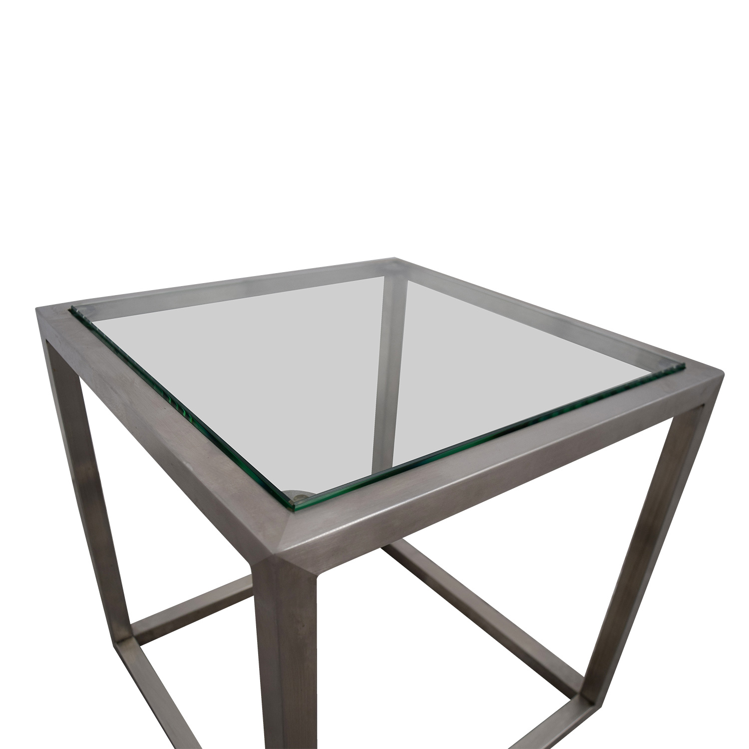 Ethan Allen Coffee Table Glass Top: Ethan Allen Ethan Allen Metal And Glass Cube