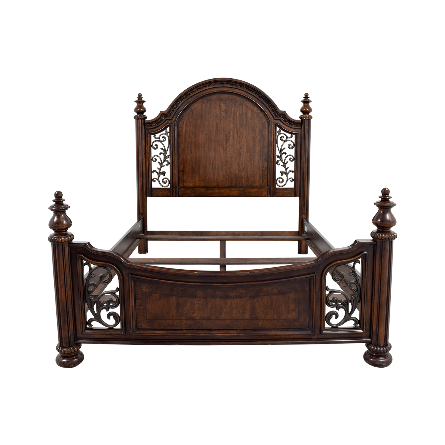 67c8b1cc4237 Raymour   Flanigan Raymour   Flanigan Wood and Metal Scroll Queen Bed Frame  on sale