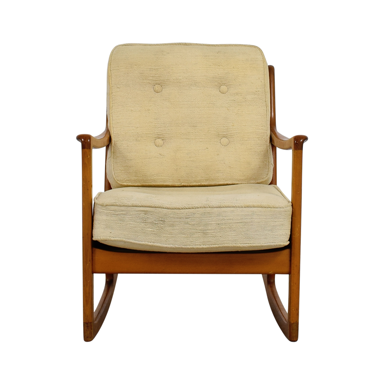 John Stuart Inc Mid Century Danish Beige Teak Rocking Chair