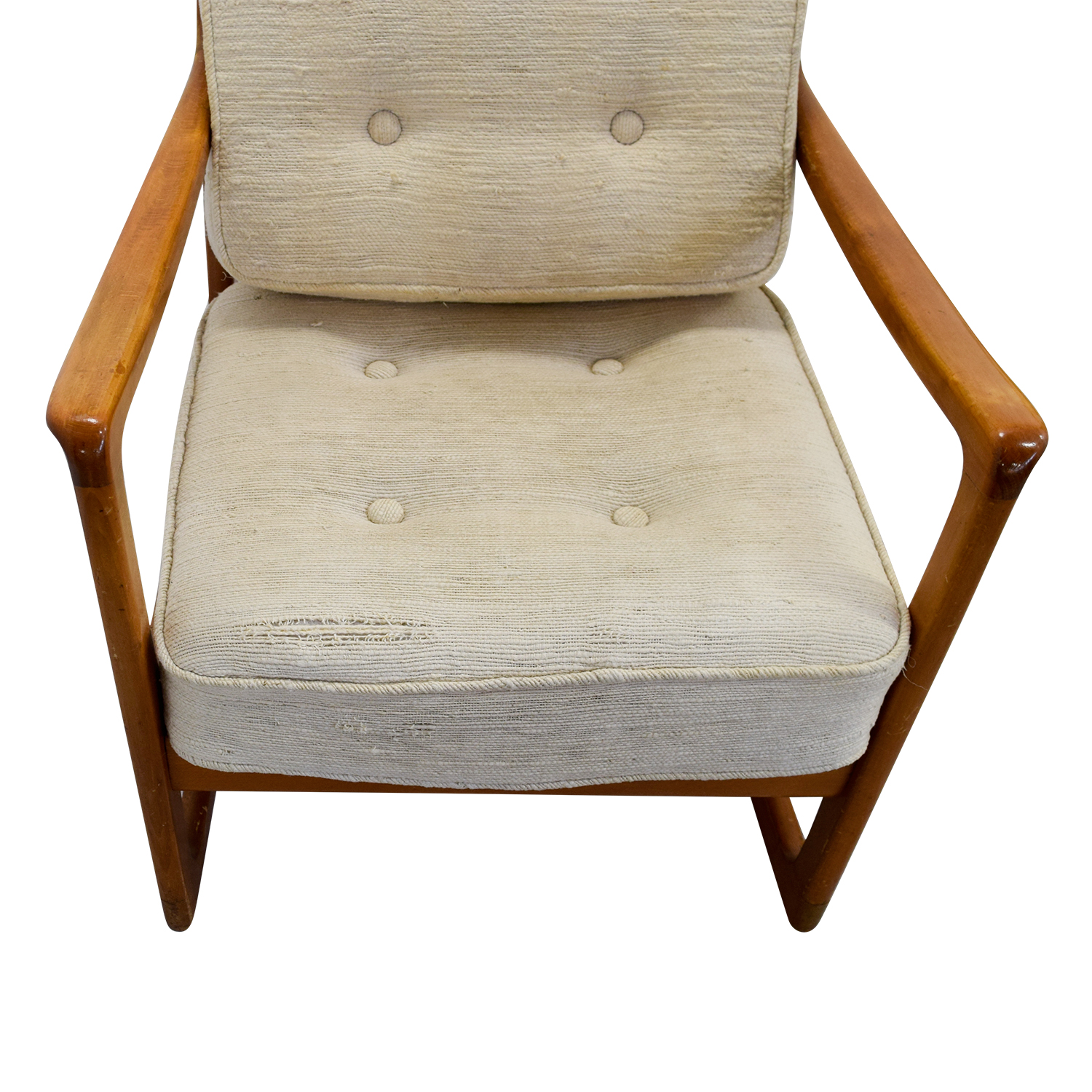 ... John Stuart Inc Mid Century Danish Beige Teak Rocking Chair Sale
