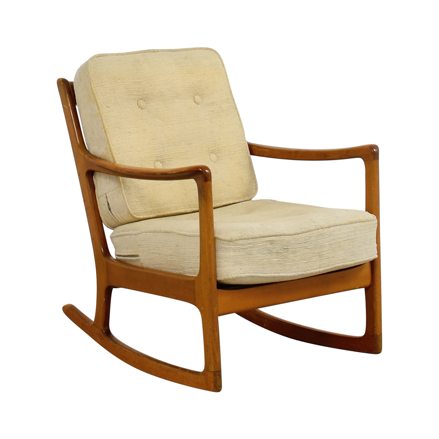 John Stuart Inc Mid Century Danish Beige Teak Rocking Chair Chairs