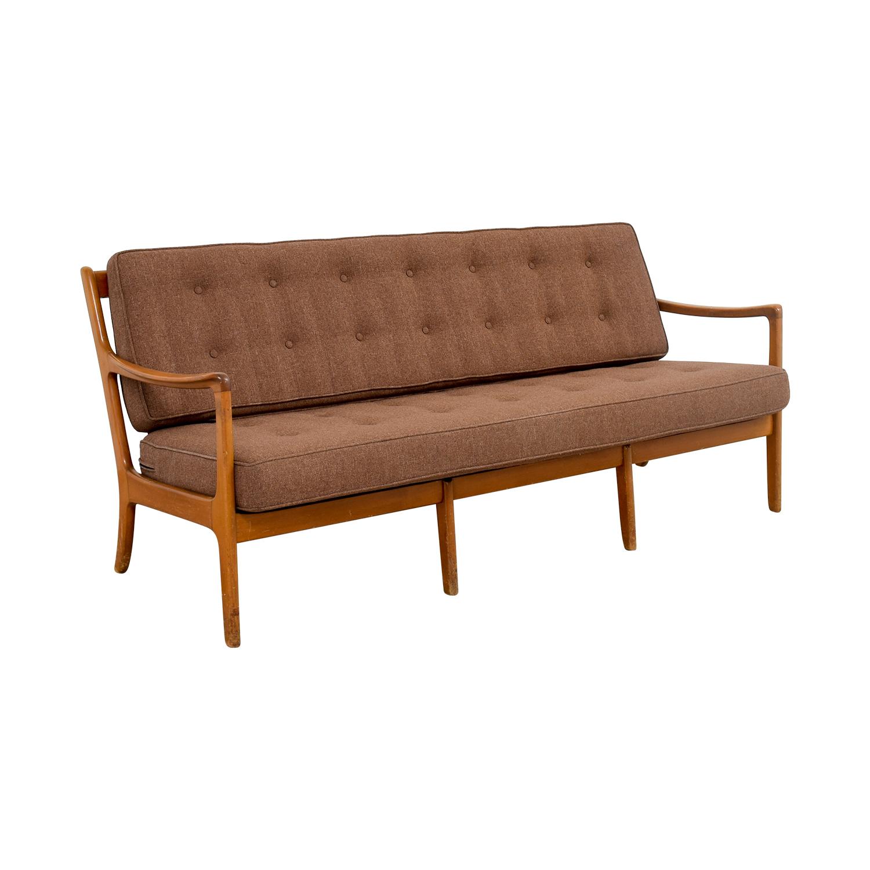 ... John Stuart Inc John Stuart Inc Mid Century Danish Teak Brown Tufted  Sofa Dimensions ...