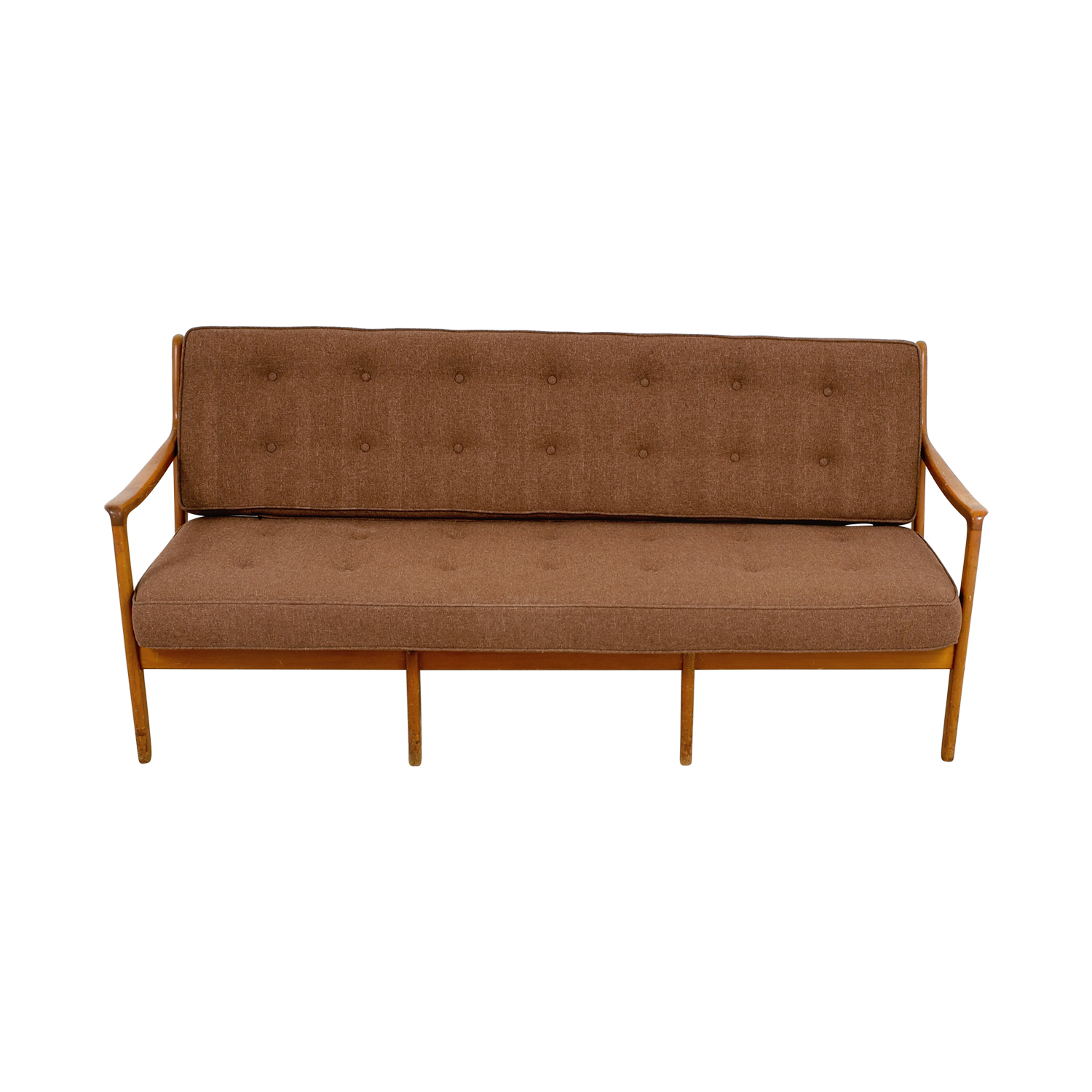 John Stuart Inc John Stuart Inc Mid-Century Danish Teak Brown Tufted Sofa brown
