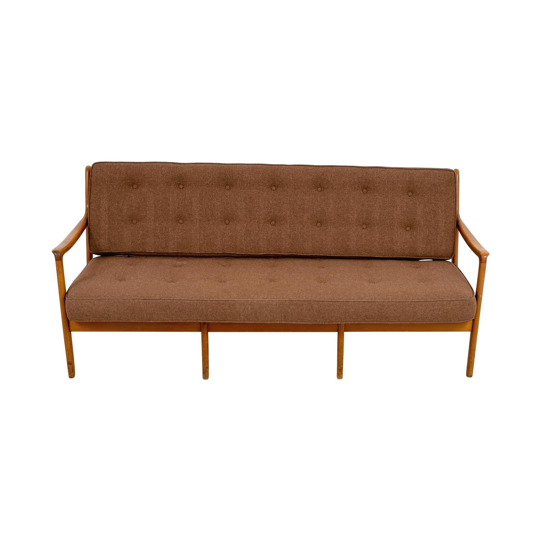 ... Shop John Stuart Inc Mid Century Danish Teak Brown Tufted Sofa John  Stuart Inc Classic ...