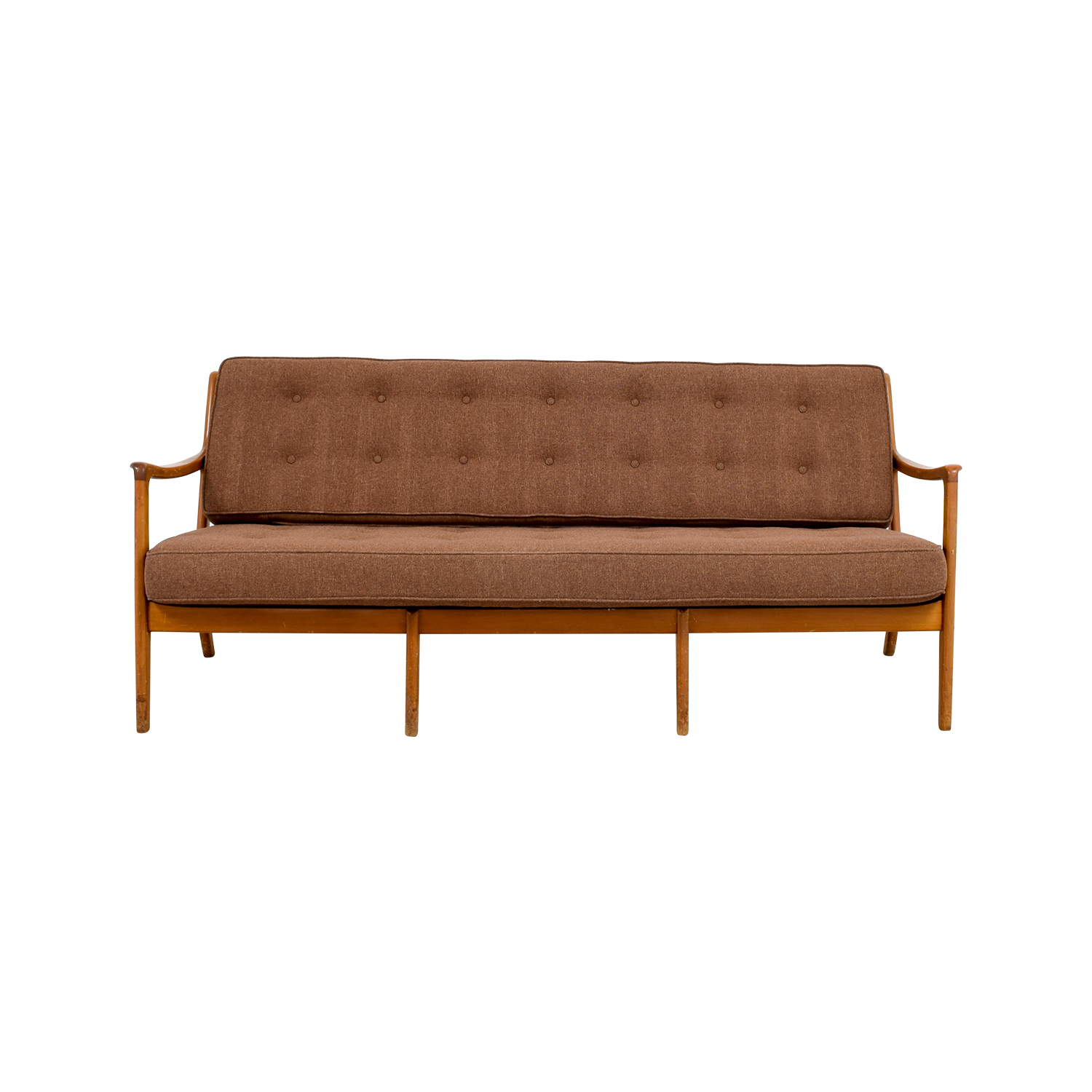 John Stuart Inc Mid Century Danish Teak Brown Tufted Sofa