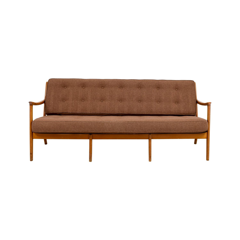 Buy John Stuart Inc Mid Century Danish Teak Brown Tufted Sofa John Stuart  Inc ...