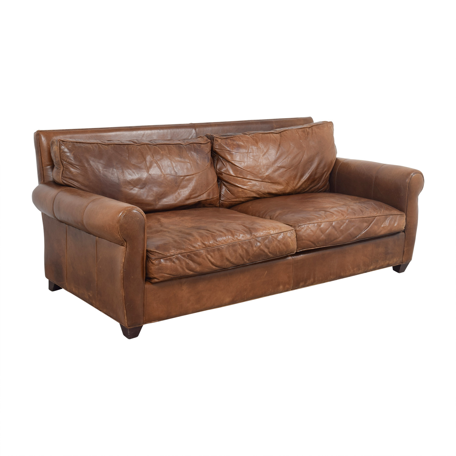 buy Arhaus Arhaus Rust Leather Two-Cushion Sofa online