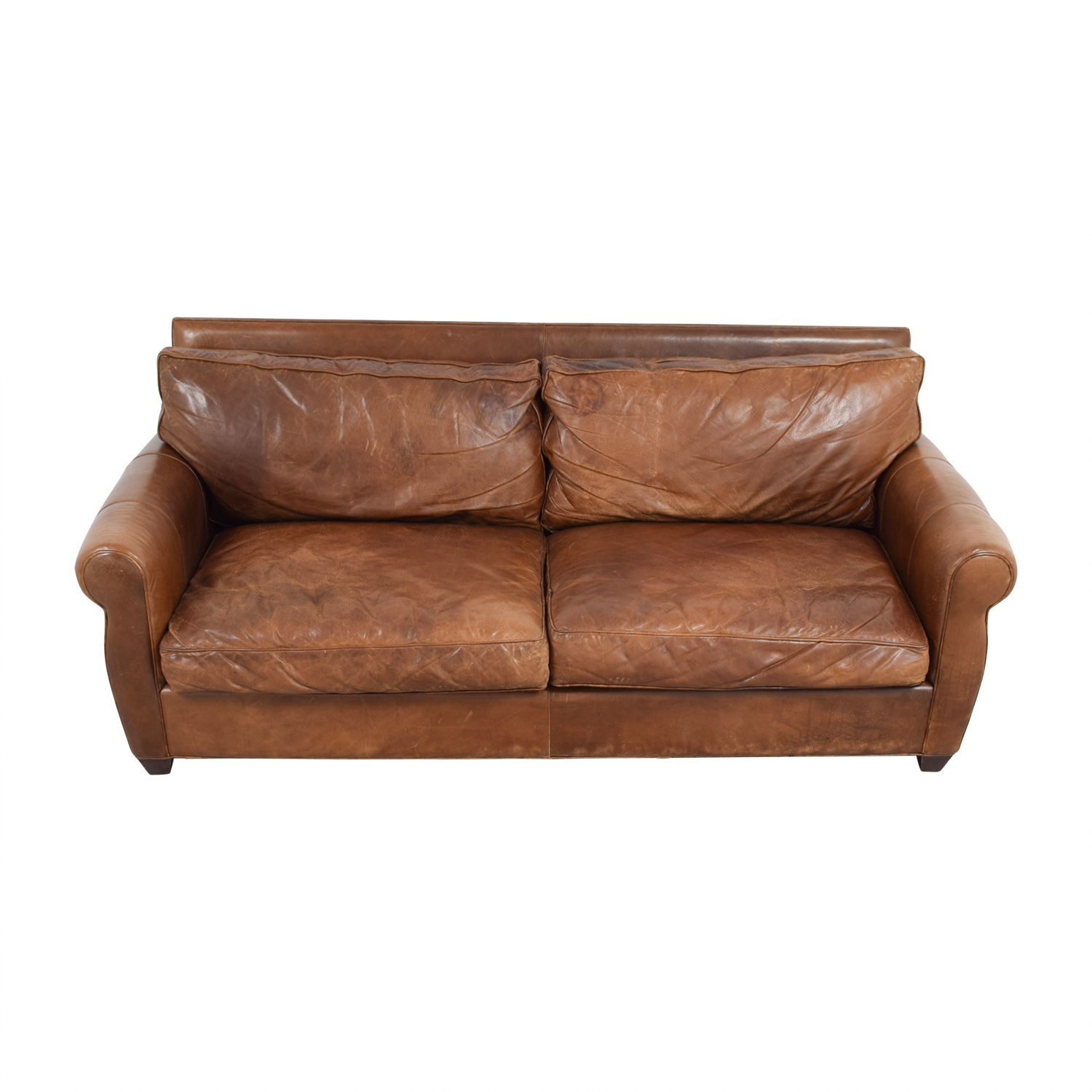 shop Arhaus Rust Leather Two-Cushion Sofa Arhaus Sofas