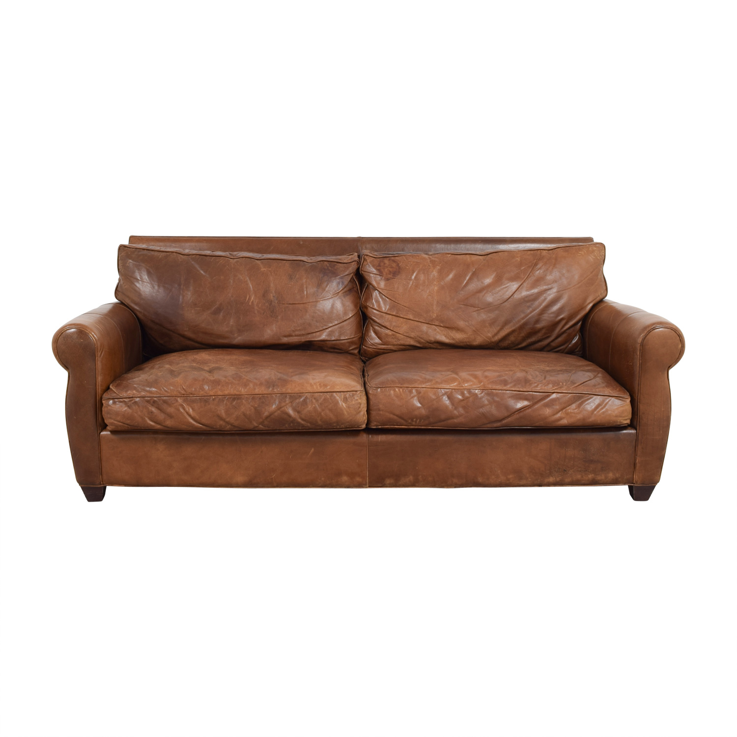 buy Arhaus Rust Leather Two-Cushion Sofa Arhaus Sofas