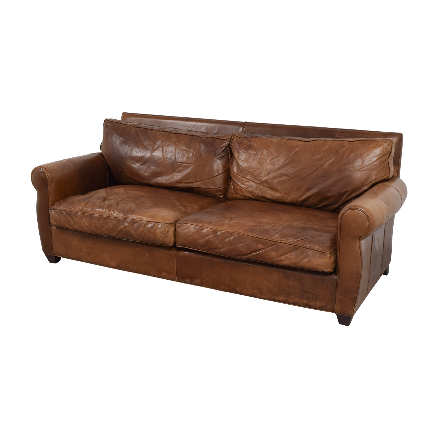 Arhaus Rust Leather Two-Cushion Sofa / Sofas