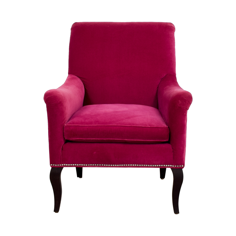 Crate & Barrel Crate & Barrel Pink Nailhead Velvet Chair discount