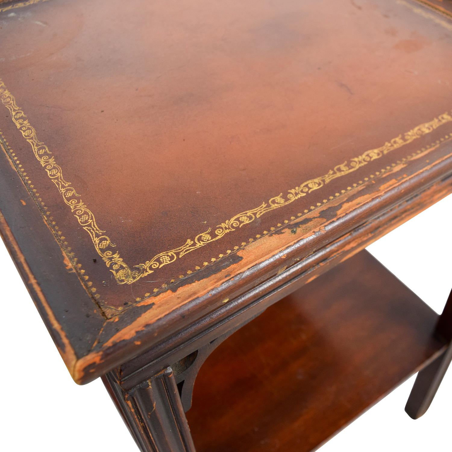 Antique Leather Top End Tables