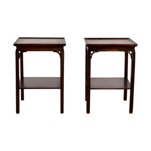 Macy's Macy's Antique Leather Top End Tables