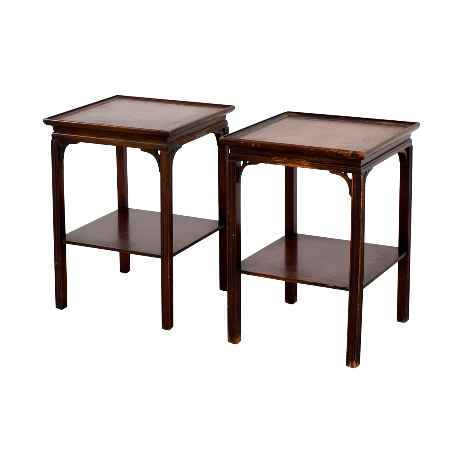 83 OFF Macys Macys Antique Leather Top End Tables Tables