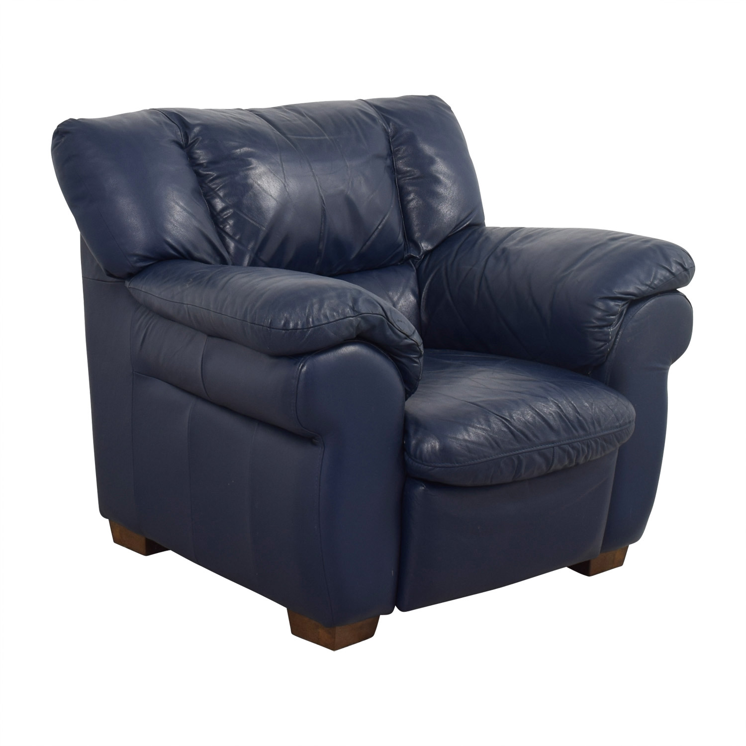 90 off macy 39 s macy 39 s navy blue leather sofa chair chairs for Blue leather sofa
