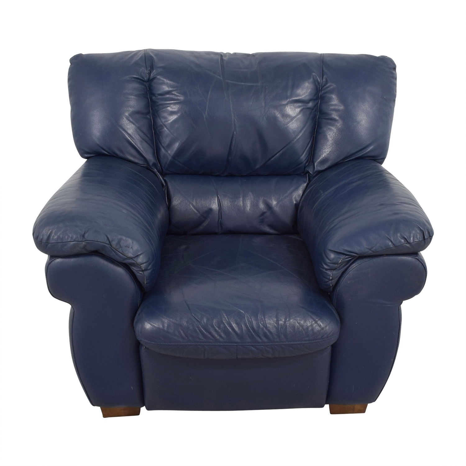 90 Off Macy S Macy S Navy Blue Leather Sofa Chair Chairs
