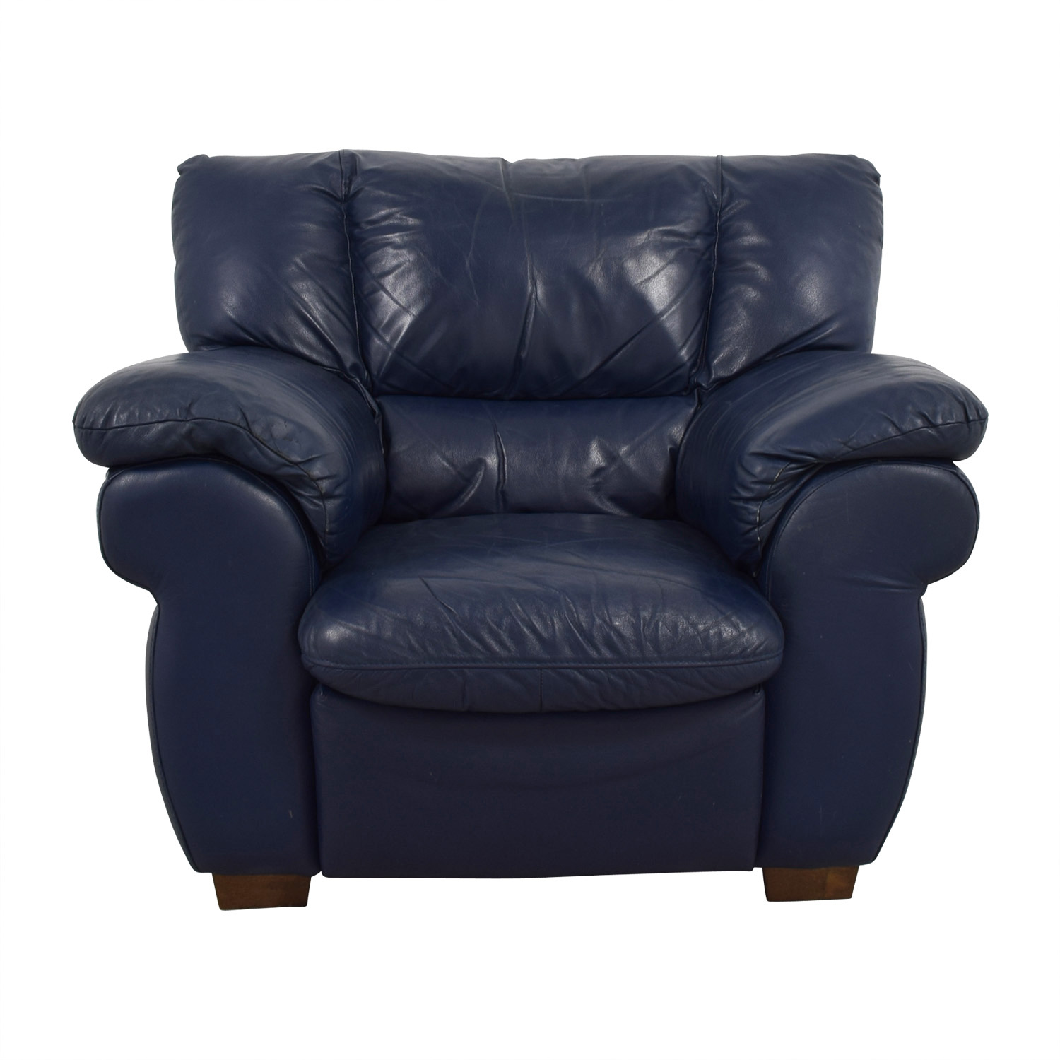 90% OFF - Macy\'s Macy\'s Navy Blue Leather Sofa Chair / Chairs