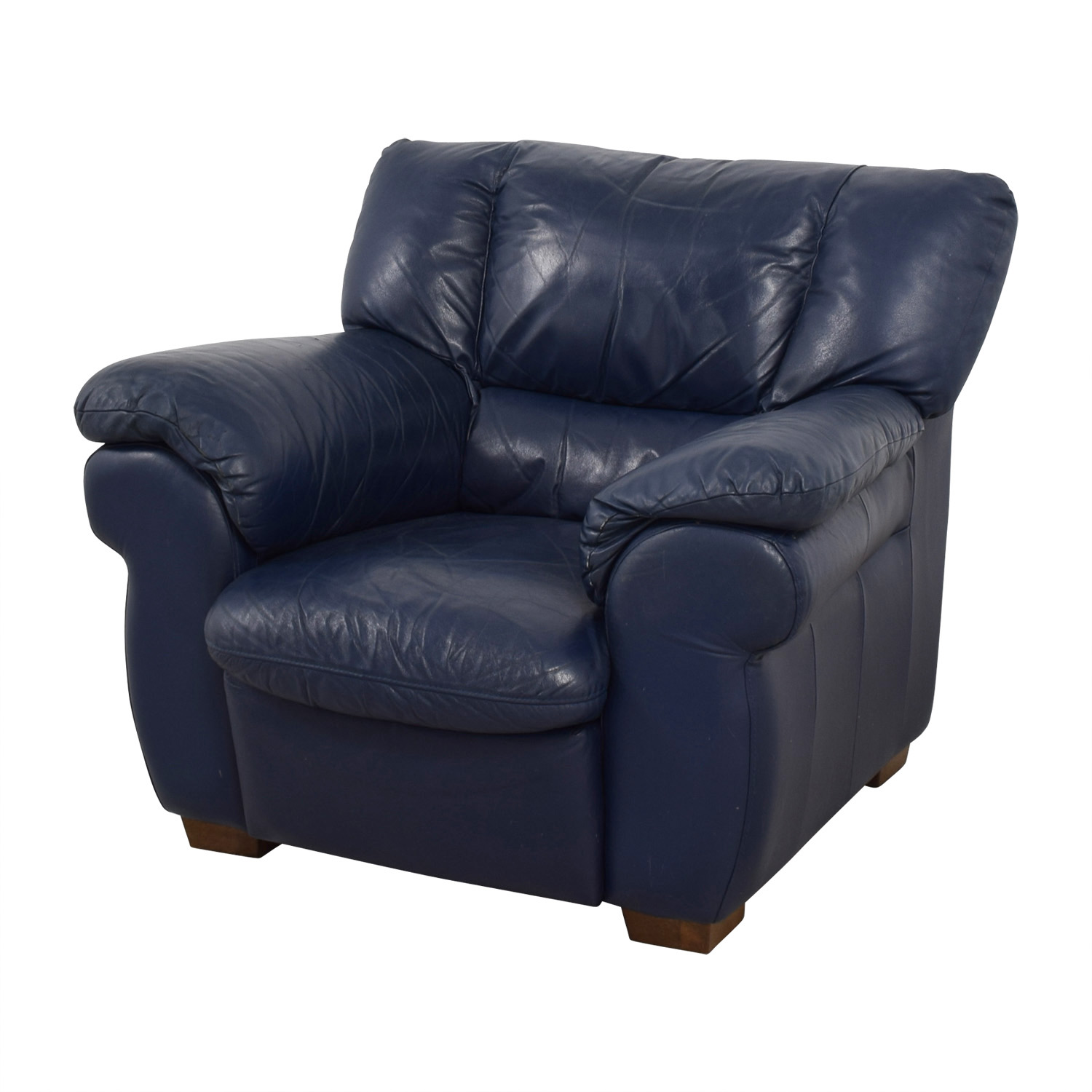 Navy blue leather chair best home design 2018 for Blue leather sofa