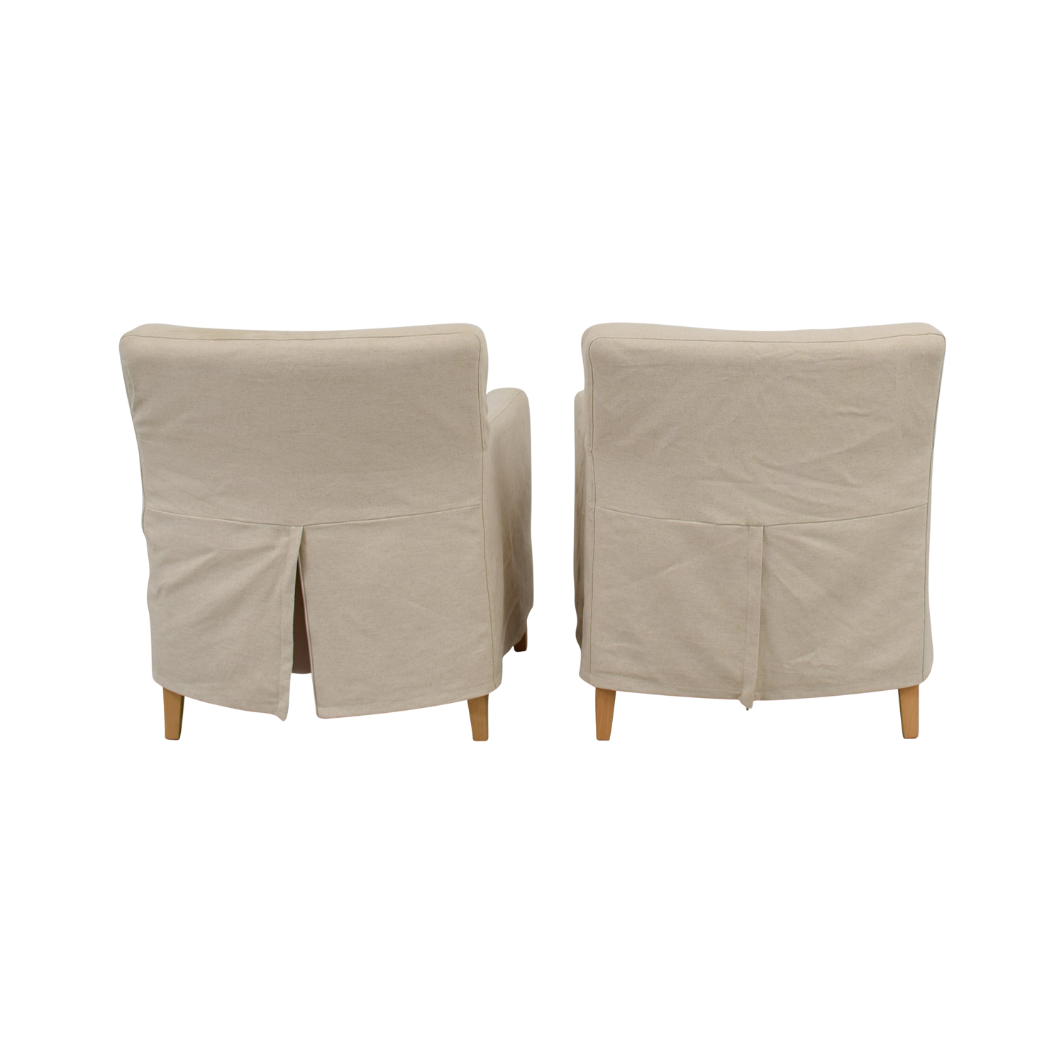 Beige Skirted Accent Armchairs beige