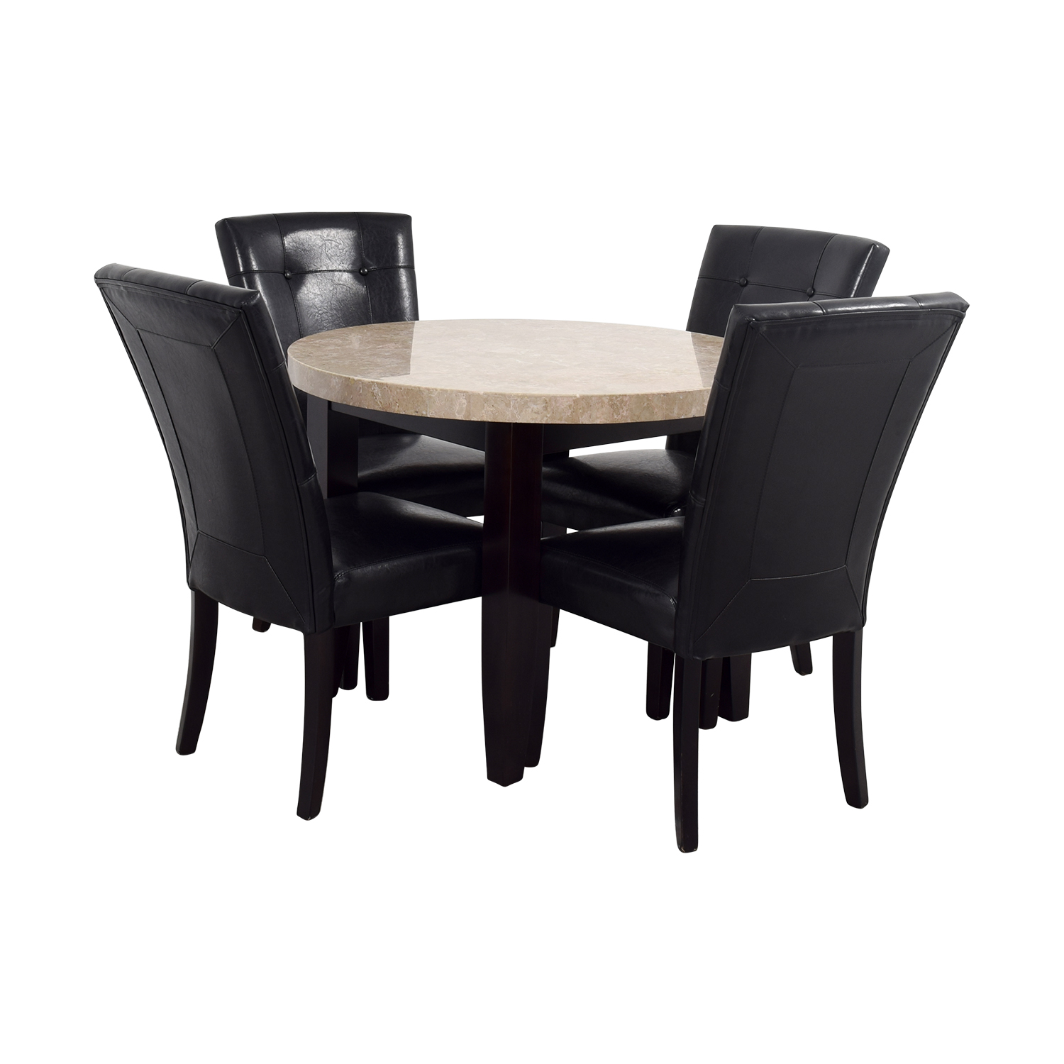 Bobs Furniture Black And Tan Marble Dining Set Used