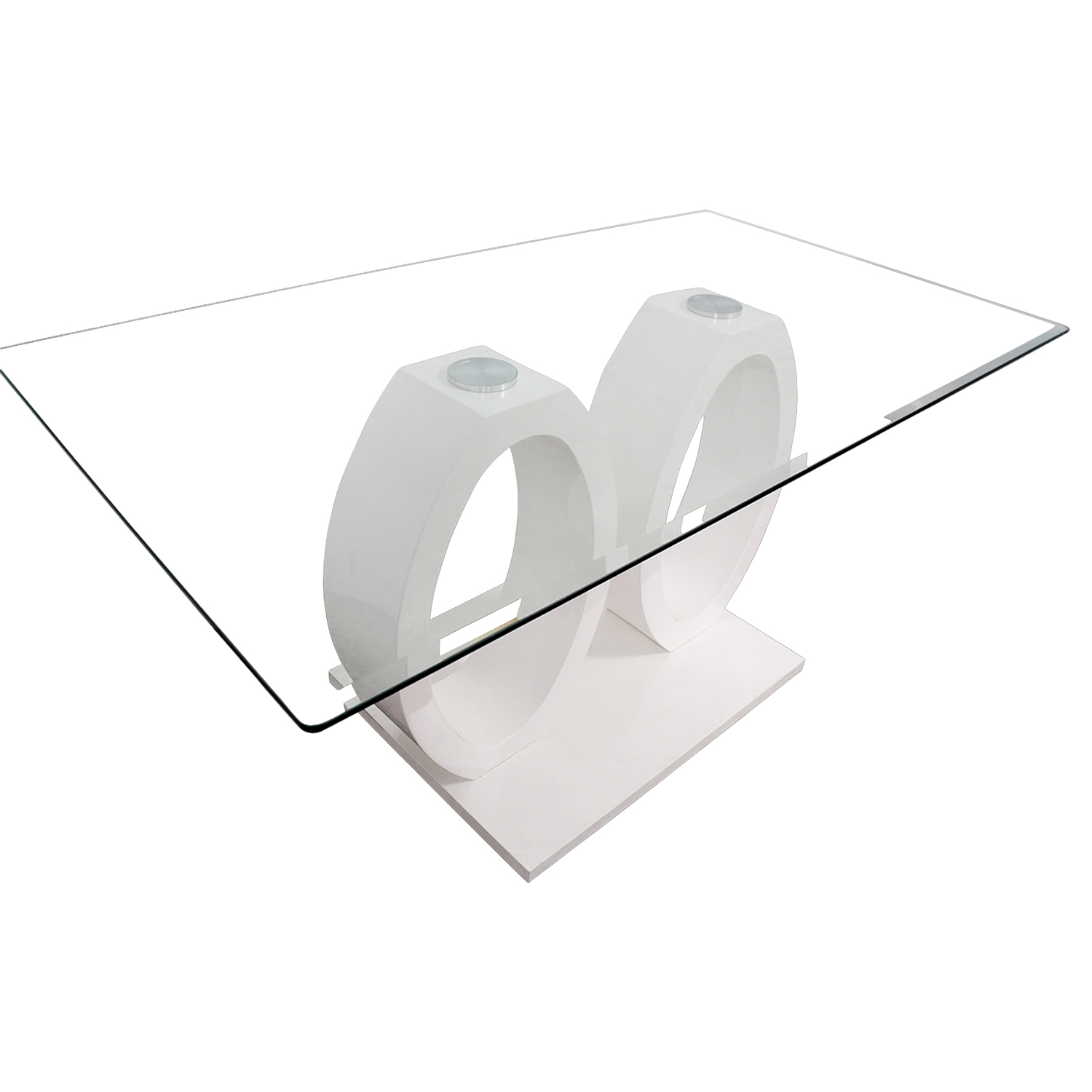 White Oval Rings and Rectangular Glass Contemporary Table used