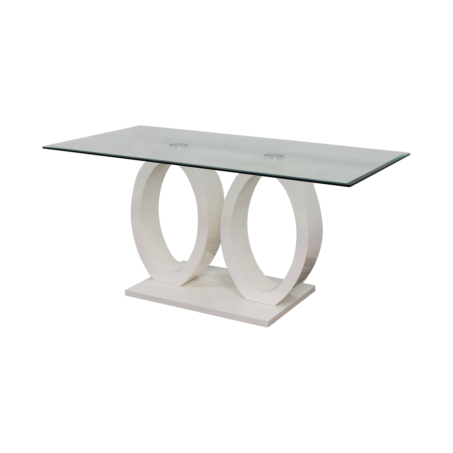 shop White Oval Rings and Rectangular Glass Contemporary Table