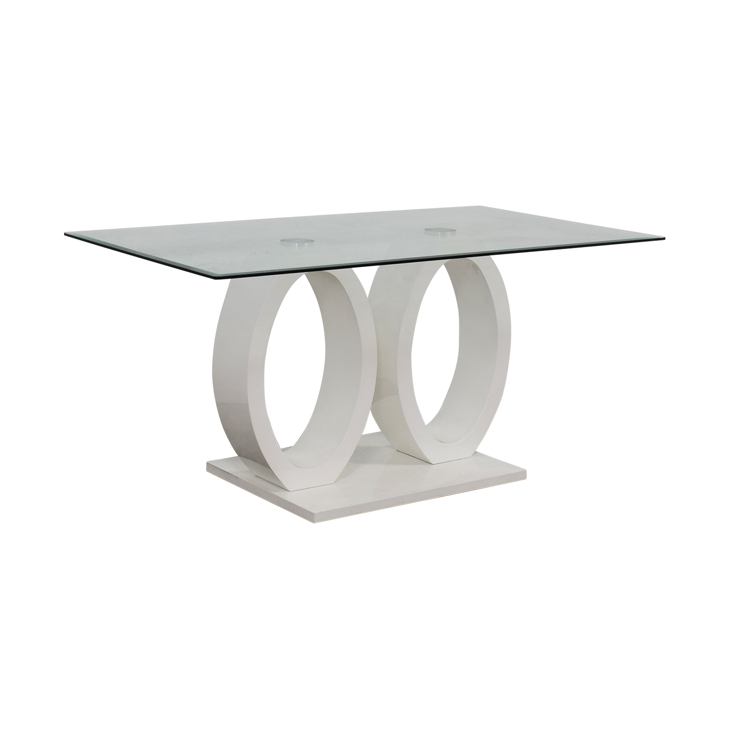 White Oval Rings and Rectangular Glass Contemporary Table White/Glass