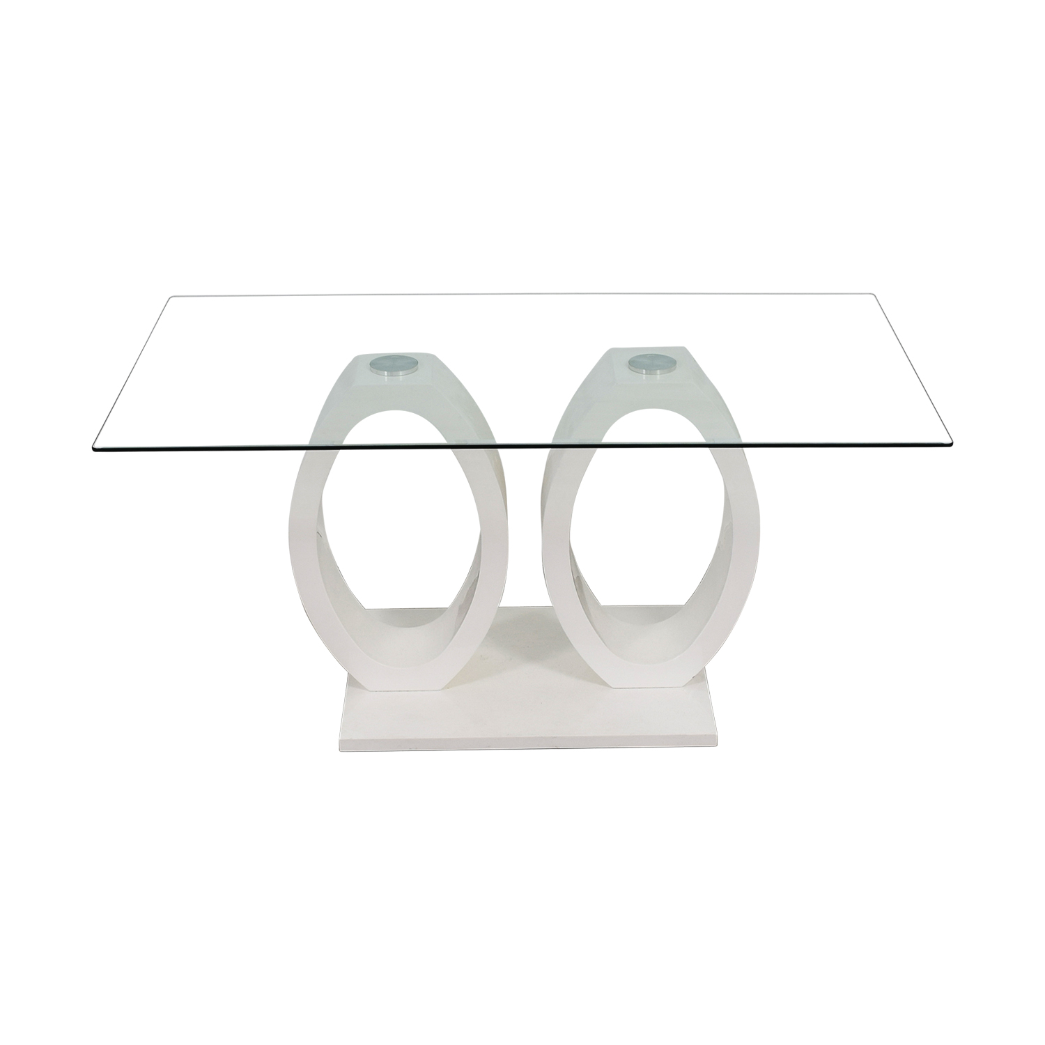 White Oval Rings and Rectangular Glass Contemporary Table for sale