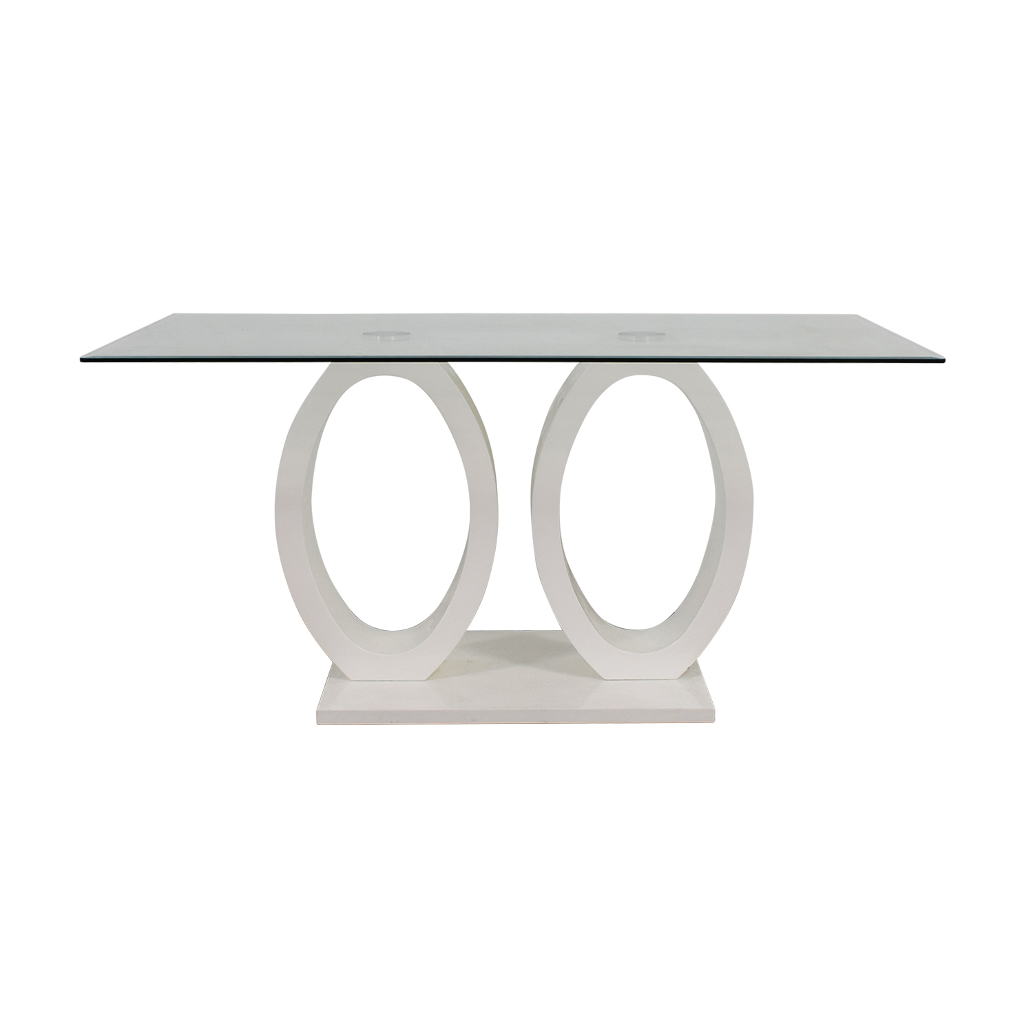 White Oval Rings and Rectangular Glass Contemporary Table nyc