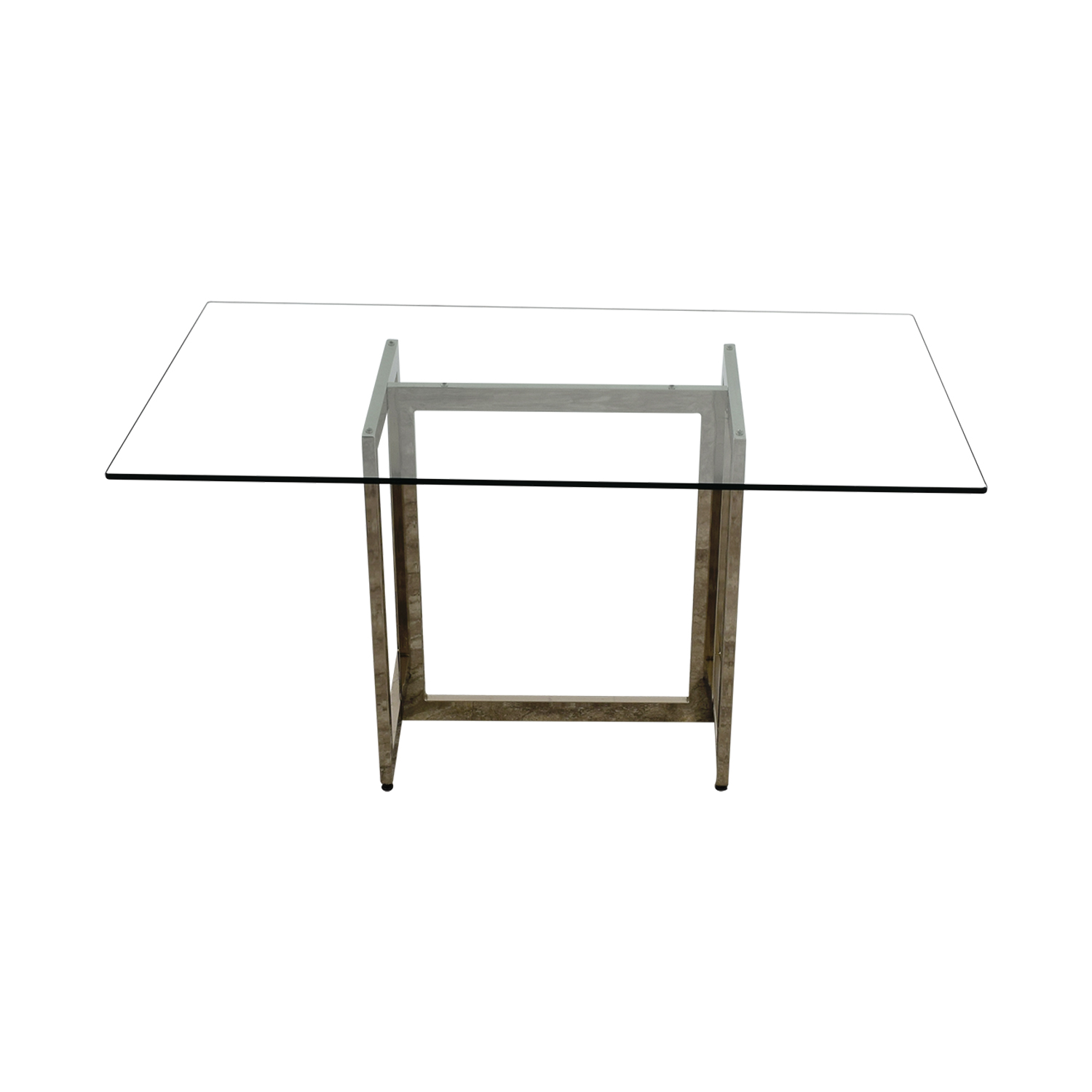 shop West Elm Rectangular Glass and Chrome Dining Table West Elm