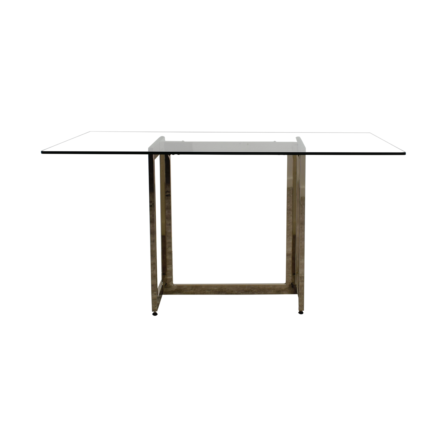 West Elm West Elm Rectangular Glass and Chrome Dining Table Dinner Tables
