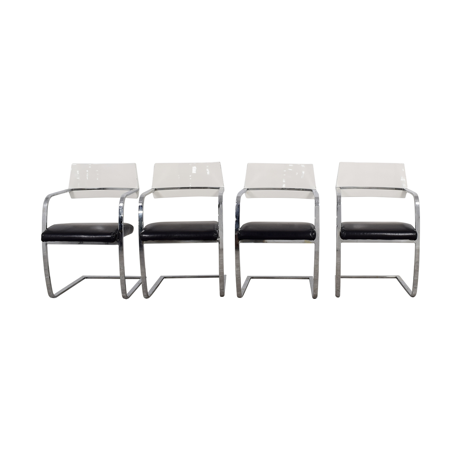 Italian Leather Black and White Chairs dimensions