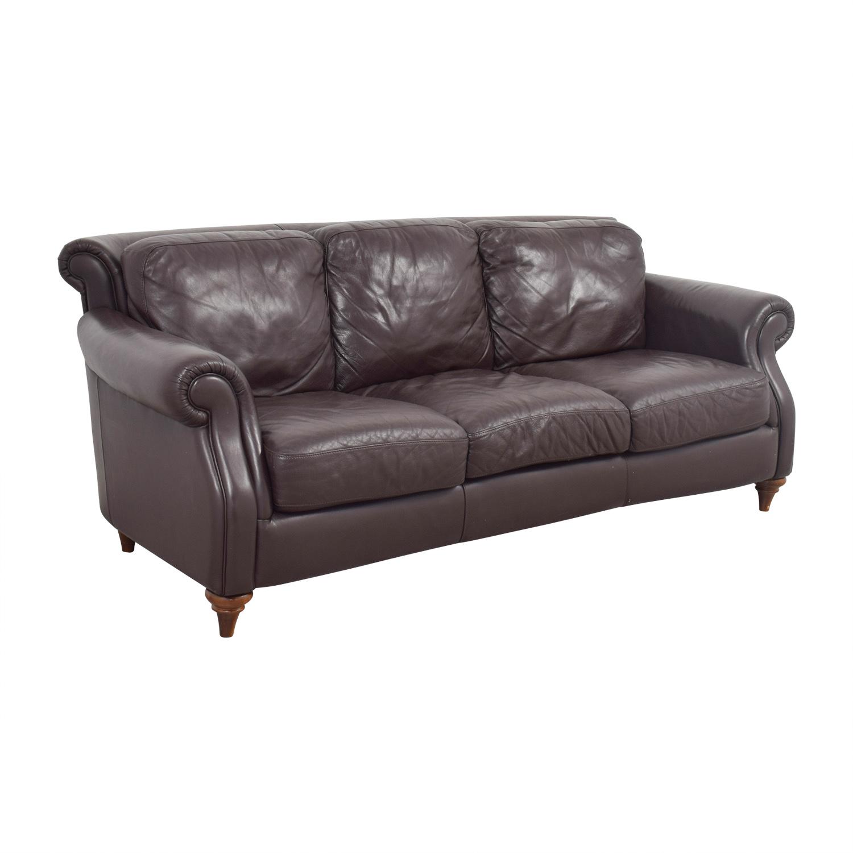 86 Off Natuzzi Natuzzi Brown Leather Three Cushion Sofa