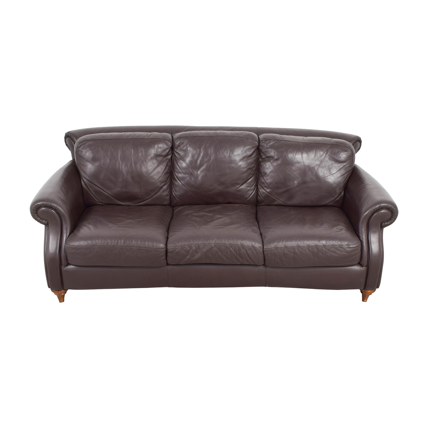 shop Natuzzi Brown Leather Three-Cushion Sofa Natuzzi