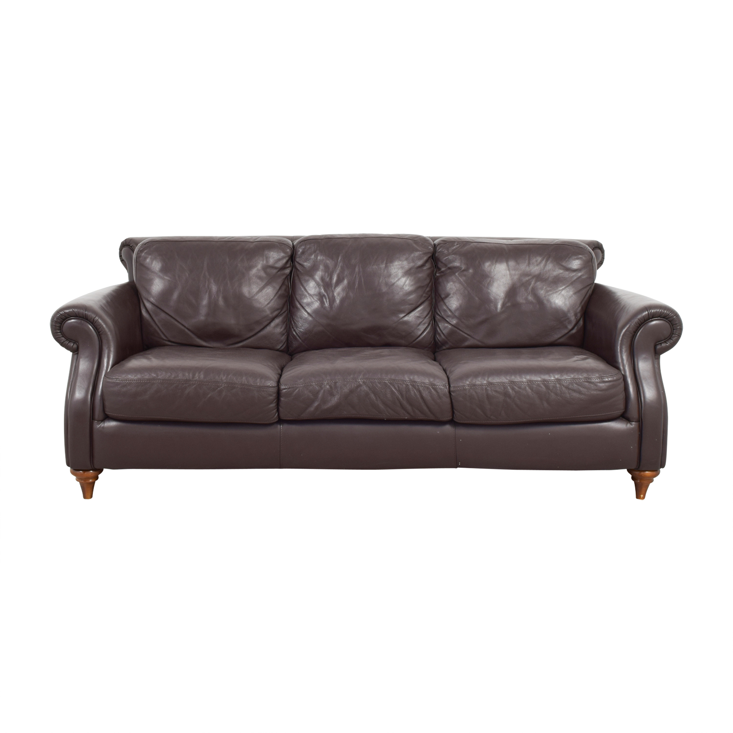Natuzzi Brown Leather Three-Cushion Sofa / Classic Sofas