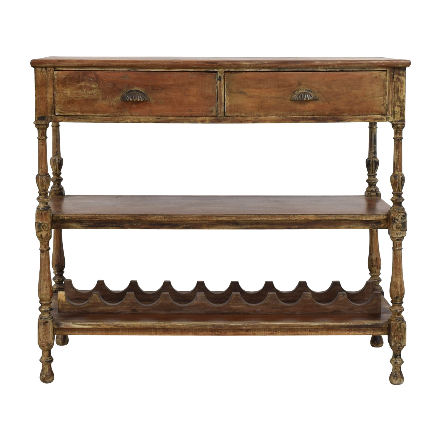 Antique Rustic Wood Wine Hutch