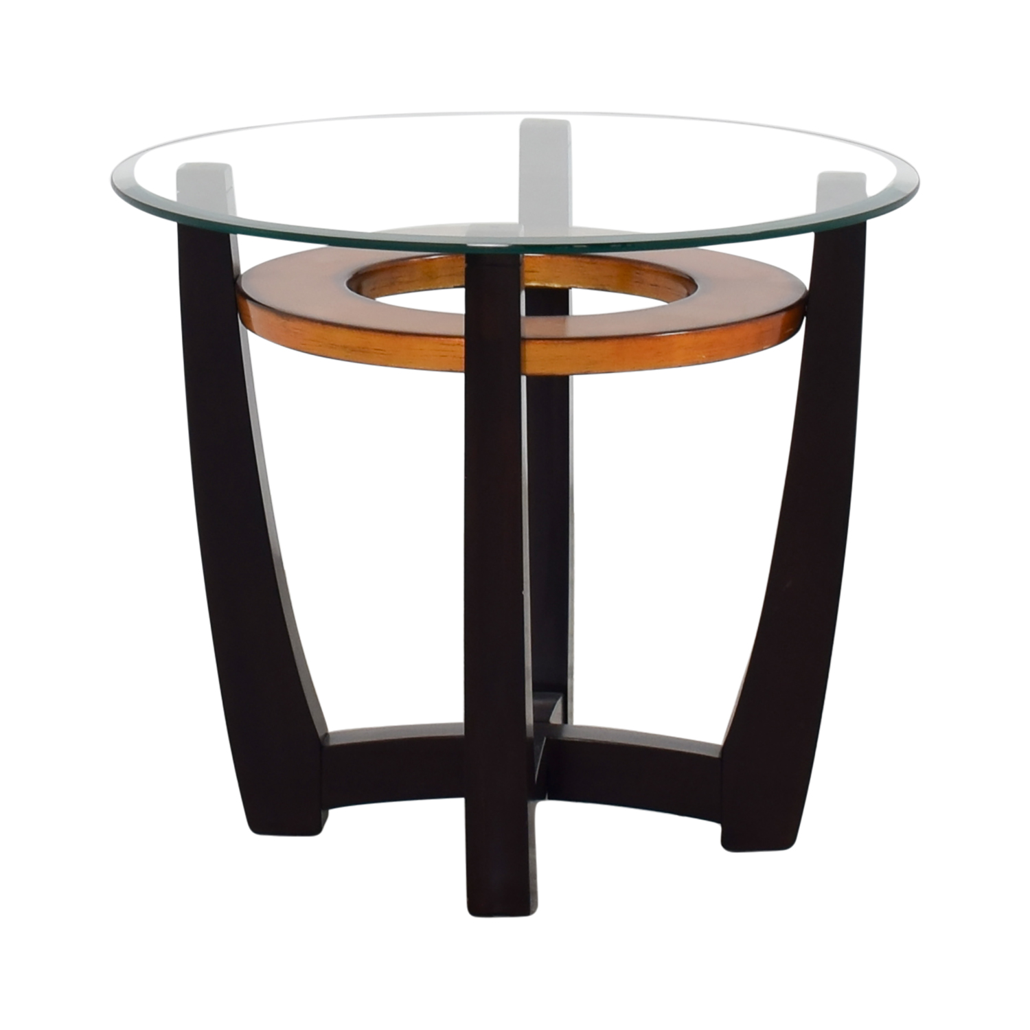 89 off raymour flanigan raymour flanigan round for Glass end tables