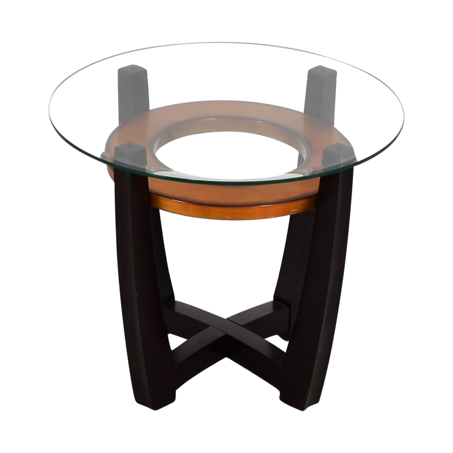 90 Off Raymour Flanigan Raymour Flanigan Round Glass Top And Wood End Table Tables