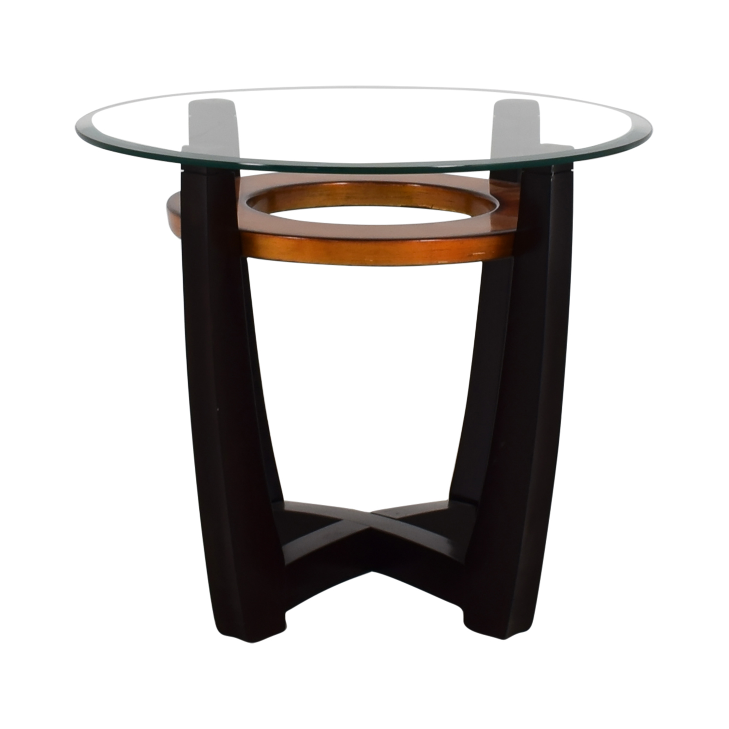 Raymour & Flanigan Raymour & Flanigan Round Glass Top and Wood End Table