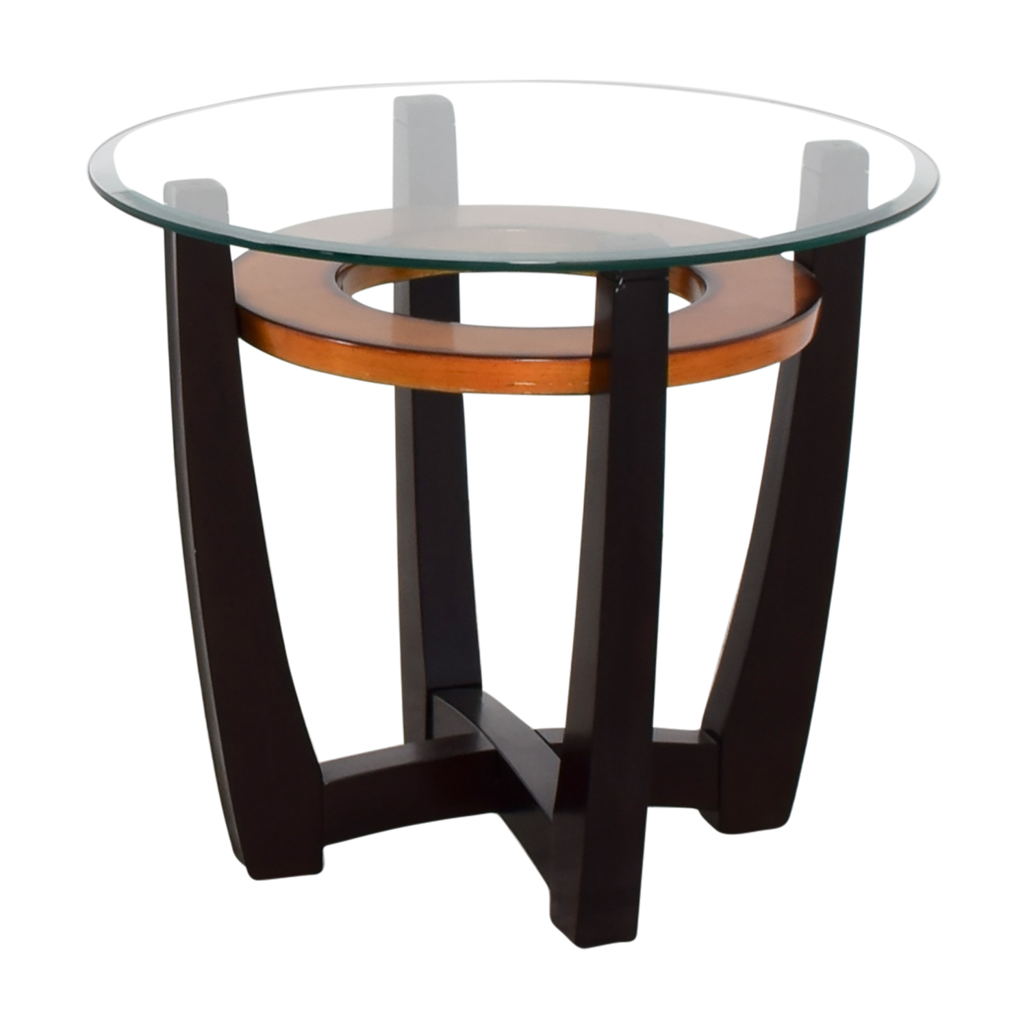 ... Raymour U0026 Flanigan Raymour U0026 Flanigan Round Glass Top And Wood End Table  ...