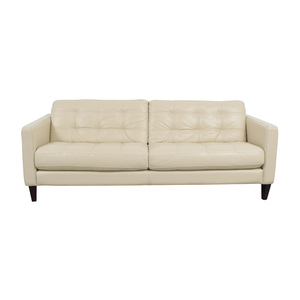 Macy's Macy's White Leather Tufted Sofa for sale