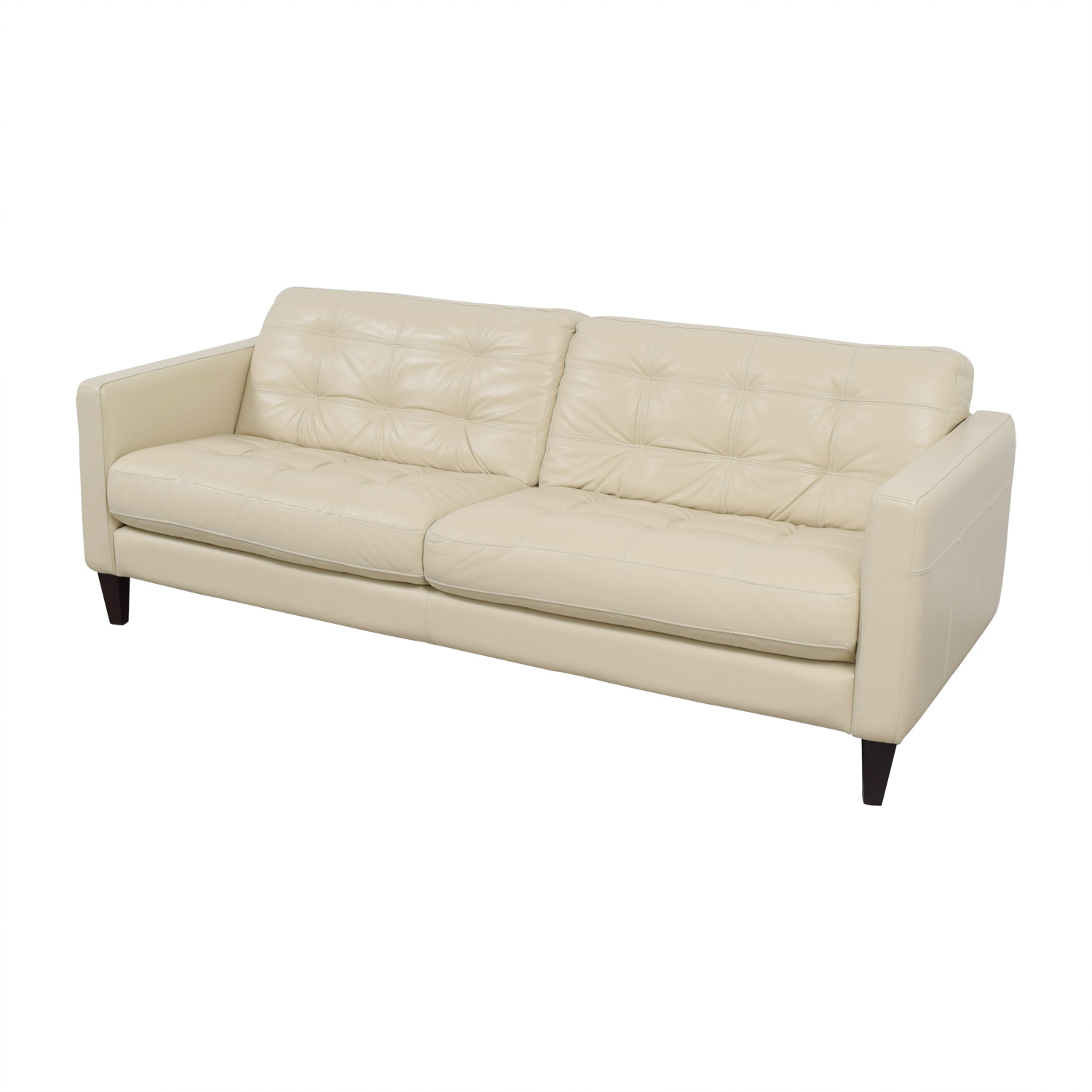 48 Off Macy S Macy S White Leather Tufted Sofa Sofas