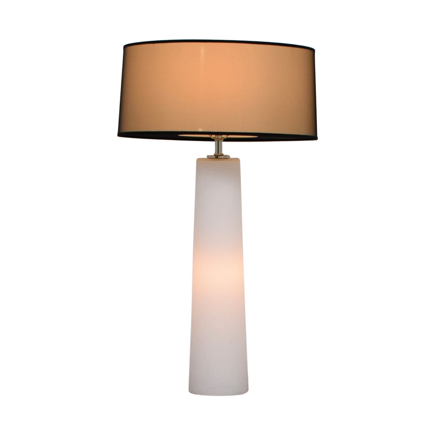 White Bedside Lamp with Base and Top Lighting / Lamps