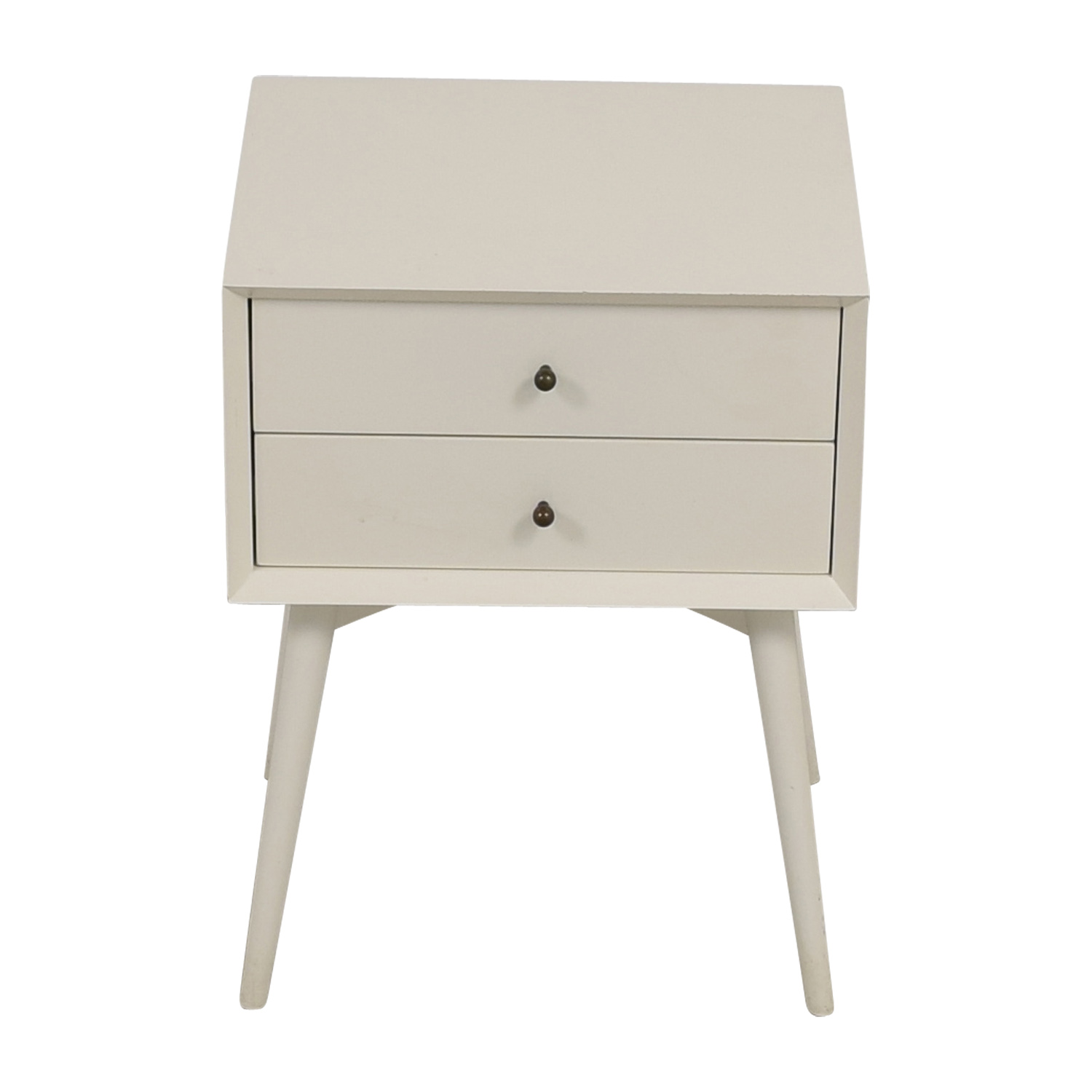 West Elm White Two-Drawer Nightstand / End Tables