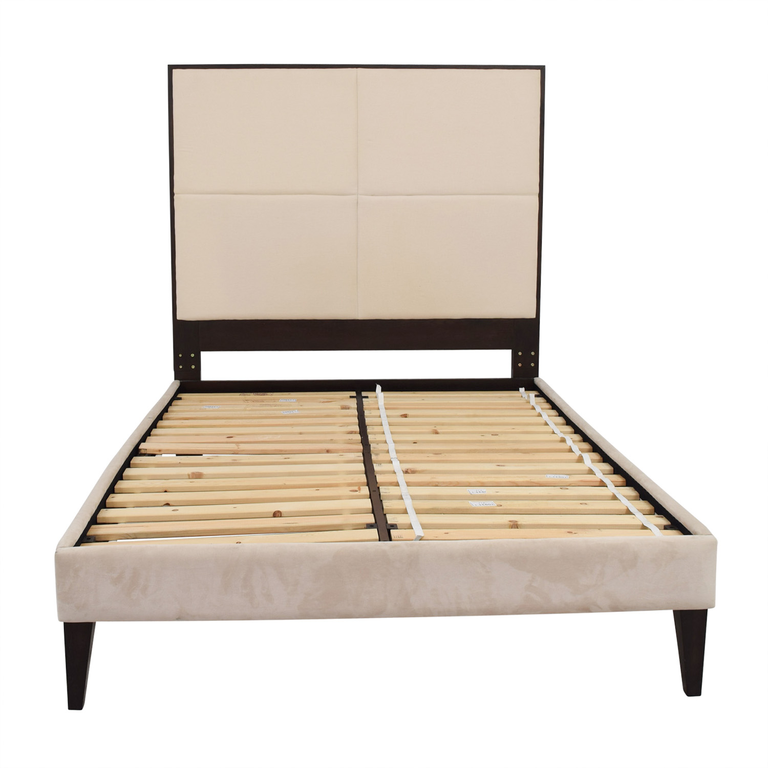 West Elm Beige Platform Full Bed Frame West Elm