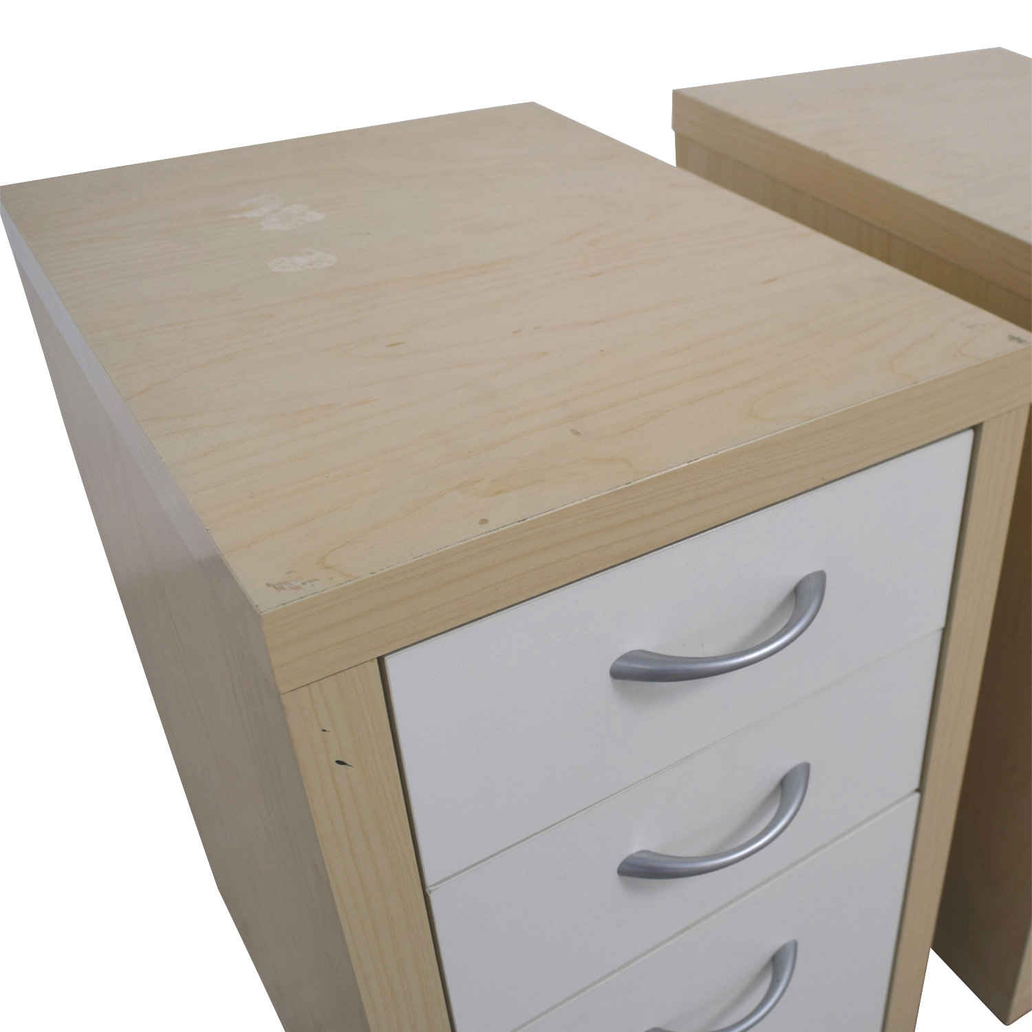 Natural and White Three-Drawer Filing Cabinets for sale